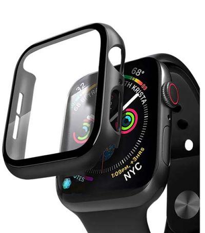 Чехол для Apple Watch 44mm со стеклом, черная рамка