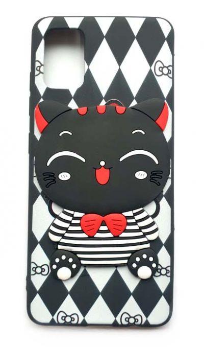 Чехол - накладка для Samsung A51 силикон Black Kitten