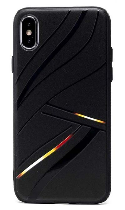 Чехол - накладка для iPhone X / XS силикон Black Lines