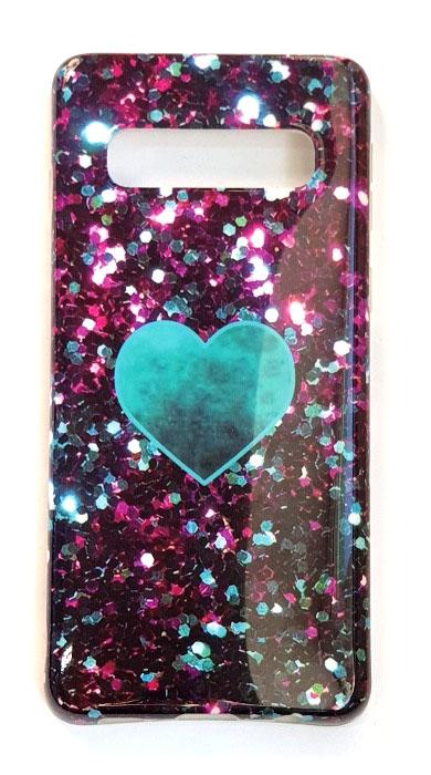 Чехол - накладка для Samsung S10 Plus силикон Heart Green