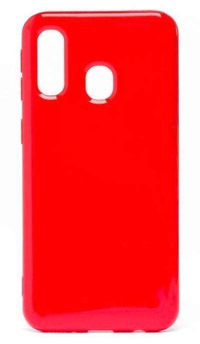 Чехол - накладка для Samsung A40 силикон Gloss Red