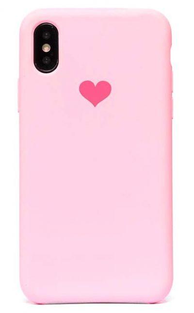 Чехол - накладка для iPhone X / XS силикон Soft Touch Love Pink