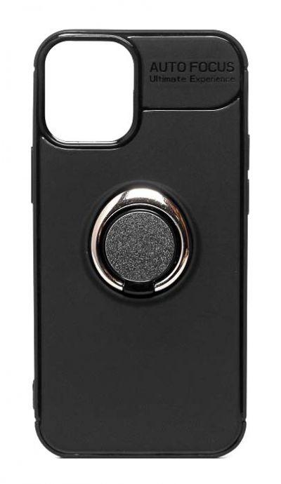 Чехол - накладка для iPhone 12 / 12 Pro силикон Ring - Holder Black