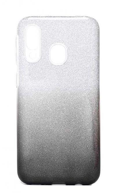 Чехол - накладка для Samsung A40 силикон Gradient Tinsel Black