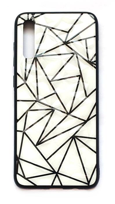 Чехол - накладка для Samsung A70 силикон Protective Glass Black Lines