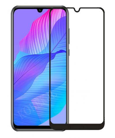 Защитное стекло для Honor 30i / Huawei Y8p на весь экран, черная рамка