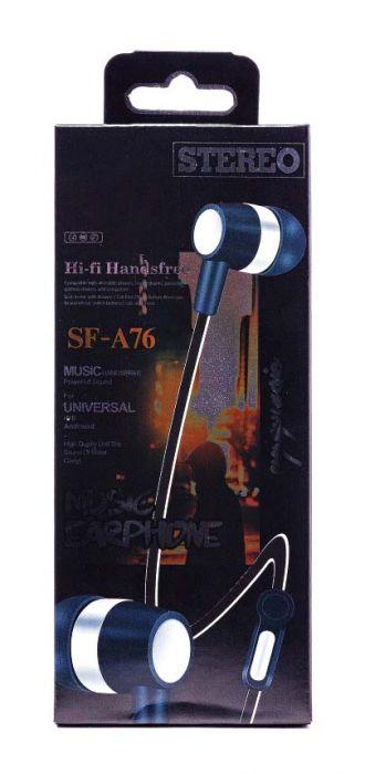 Проводные наушники с микрофоном SF - A76, черный