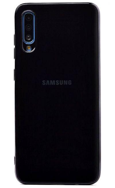 Чехол - накладка для Samsung A70 силикон Gloss Black org