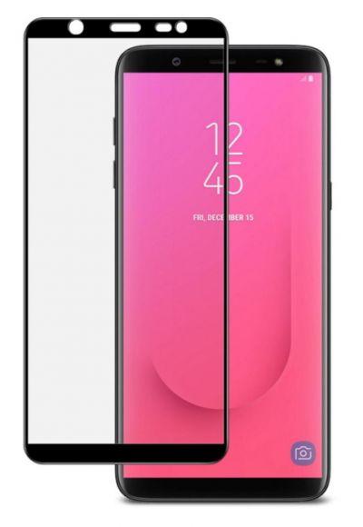 Защитное стекло для Samsung J8 (2018), на весь экран, черная рамка
