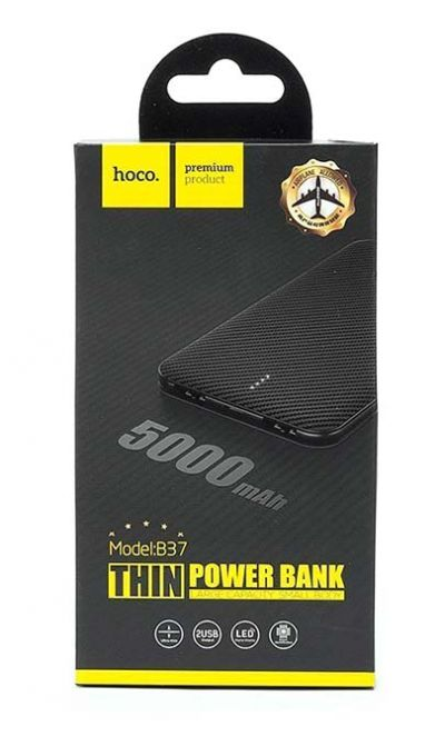 Аккумулятор внешний Power Bank HOCO B37 - 5 000 mAh с индикатором Black