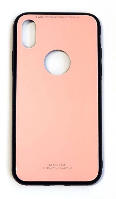 Чехол - накладка для iPhone X / XS силикон Protective Glass Pink