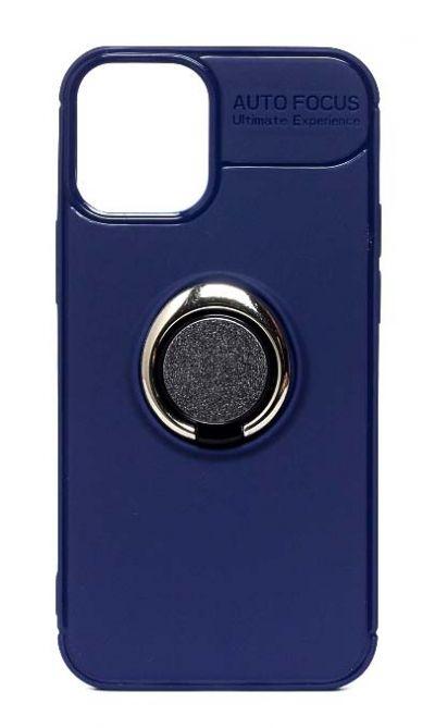 Чехол - накладка для iPhone 12 mini силикон Ring - Holder Dark Blue
