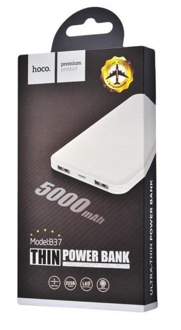 Аккумулятор внешний Power Bank HOCO B37 - 5 000 mAh с индикатором White