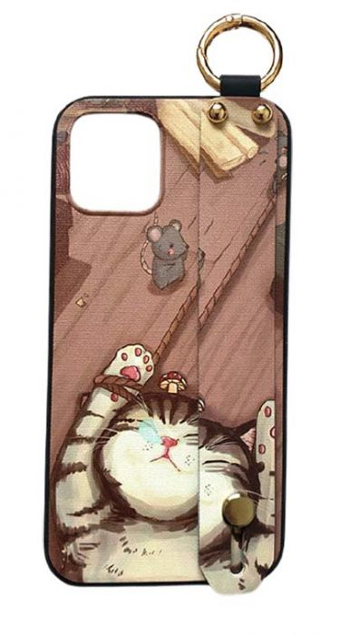 Чехол - накладка для iPhone 12 / 12 Pro силикон Strap - Stand Sleeping Cat