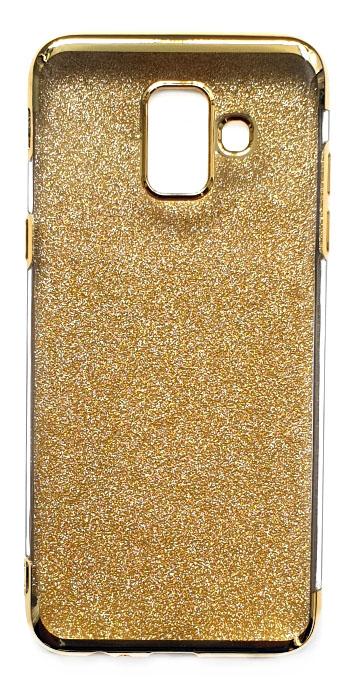 Чехол - накладка для Samsung A6 силикон Вставка Золотые Блестки