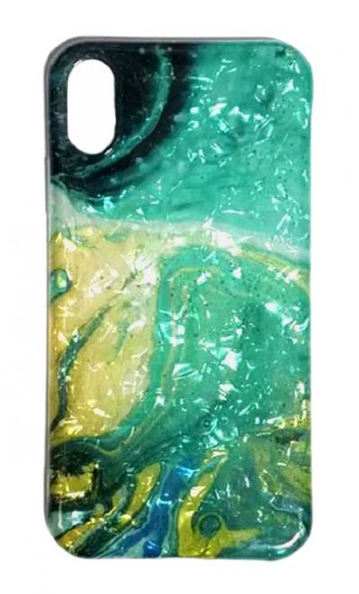 Чехол - накладка для iPhone X / XS силикон ST Marble Blue №2