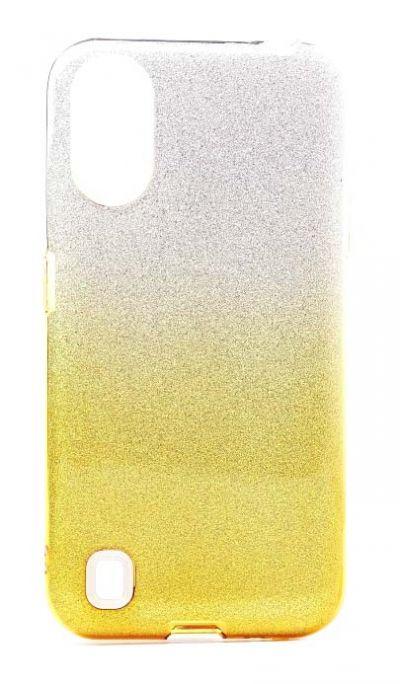 Чехол - накладка для Samsung A01 / M01 силикон Gradient Tinsel Gold