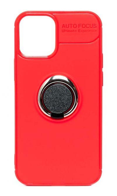 Чехол - накладка для iPhone 12 Pro Max силикон Ring - Holder Red