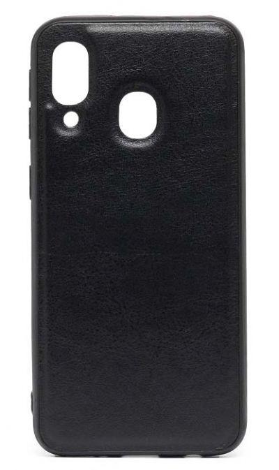 Чехол - накладка для Samsung A40 силикон Imitation leather Black