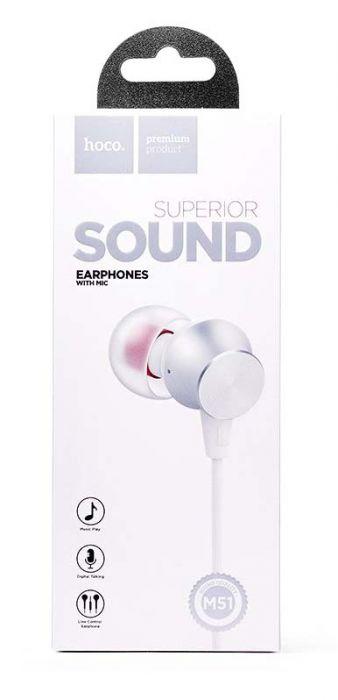 Проводные наушники с микрофоном Hoco M51 Proper Sound, белый