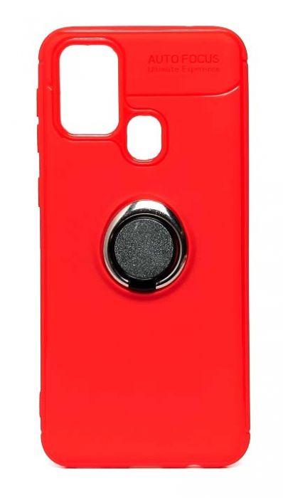 Чехол - накладка для Samsung A21s силикон Ring - Holder Red