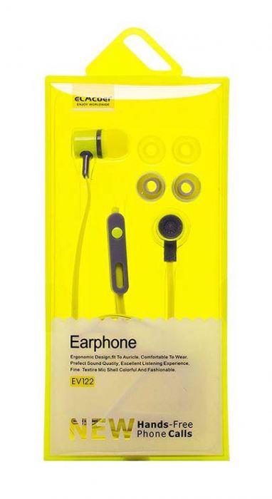 Проводные наушники с микрофоном Elmcoei EV-122, желтый