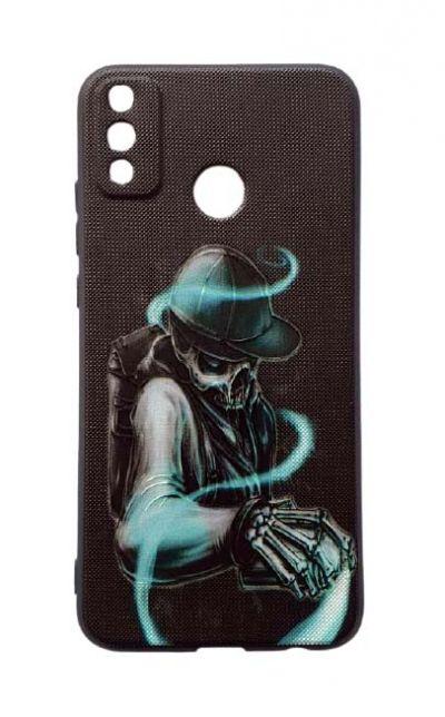 Чехол - накладка для Honor 9X Lite силикон Neon Scull