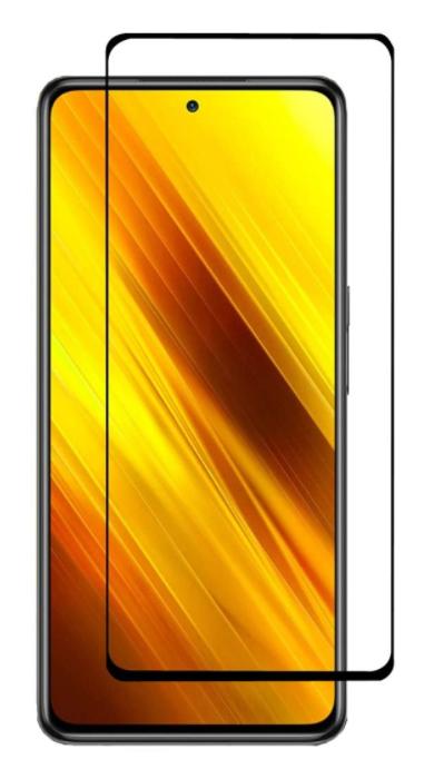 Защитное стекло для Xiaomi Poco X3 / Poco X3 Pro на весь экран, черная рамка