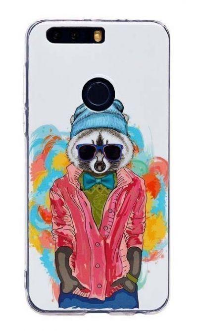 Чехол - накладка для Honor 8 силикон Raccoon Hipster