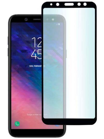 Защитное стекло для Samsung A6 (2018), на весь экран, черная рамка