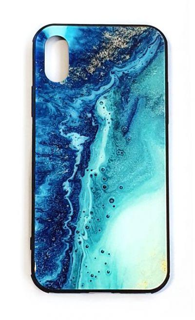 Чехол - накладка для iPhone X / XS силикон Border printing Blue