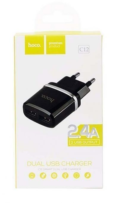 Сетевое зарядное устройство - HOCO C12 2хUSB / 5В / 2.4A (black)