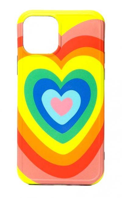 Чехол - накладка для iPhone 12 / 12 Pro силикон Rainbow Heart