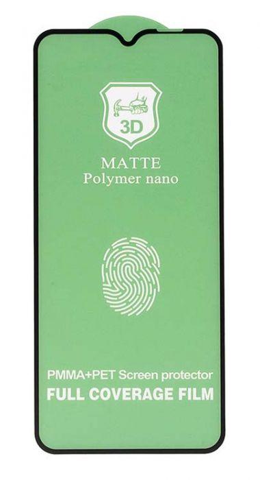 Полимерная защитная пленка для A12 / A02s / A02 / A03s / Realme C11 / C12 / C15, глянцевая на весь экран, черная рамка
