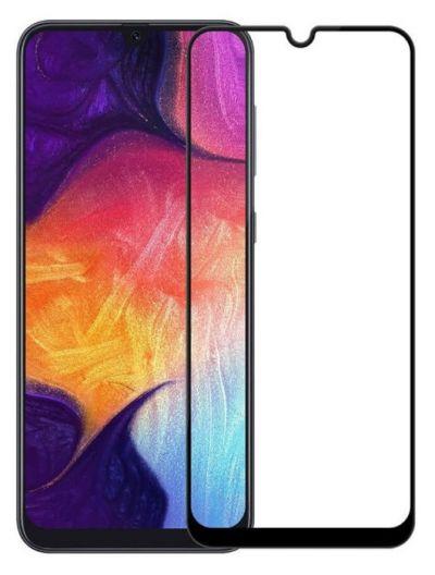 Защитное стекло для Samsung A70 / A02 / A02s / A03s / Redmi 9A / 9C / Realme C3 / C11 / C12 / C15, на весь экран, черная рамка