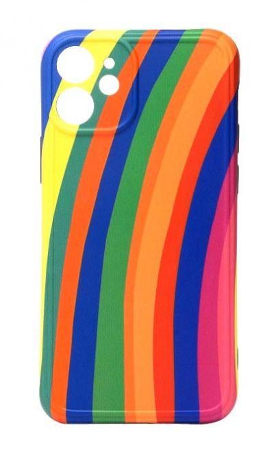 Чехол - накладка для iPhone 12 mini силикон Rainbow