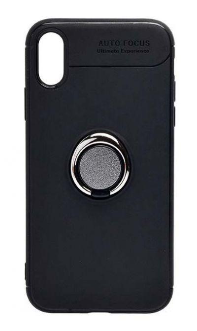 Чехол - накладка для iPhone XR силикон Ring - Holder Black
