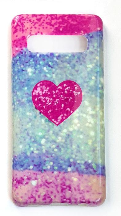 Чехол - накладка для Samsung S10 силикон Heart Pink