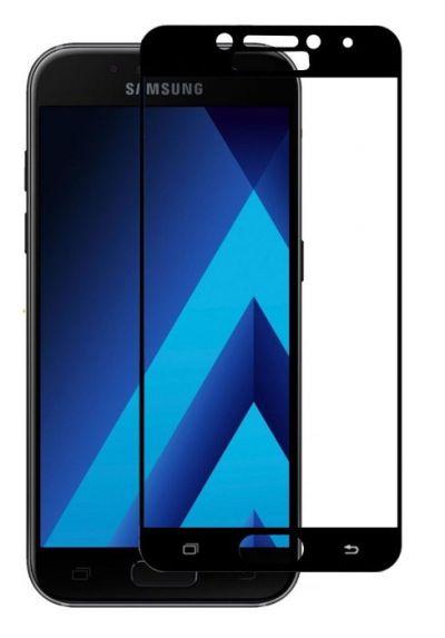 Защитное стекло для Samsung A7 (2017), на весь экран, черная рамка