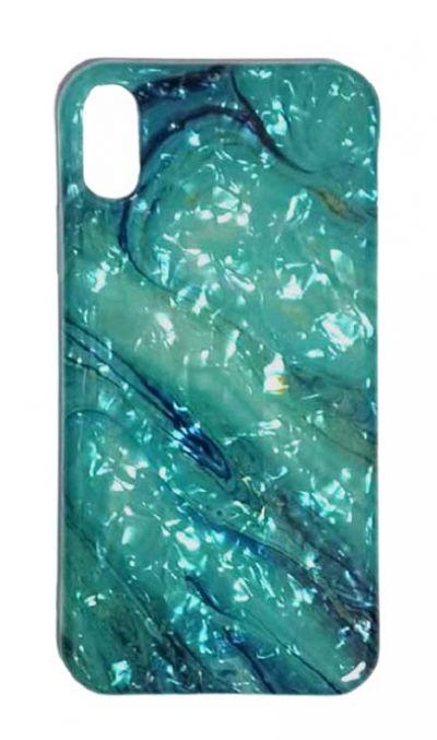 Чехол - накладка для iPhone X / XS силикон ST Marble Blue №4